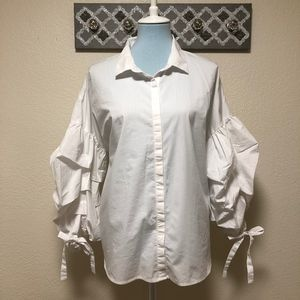 ANA Button Down Top White Puffer Sleeve, Size XXL